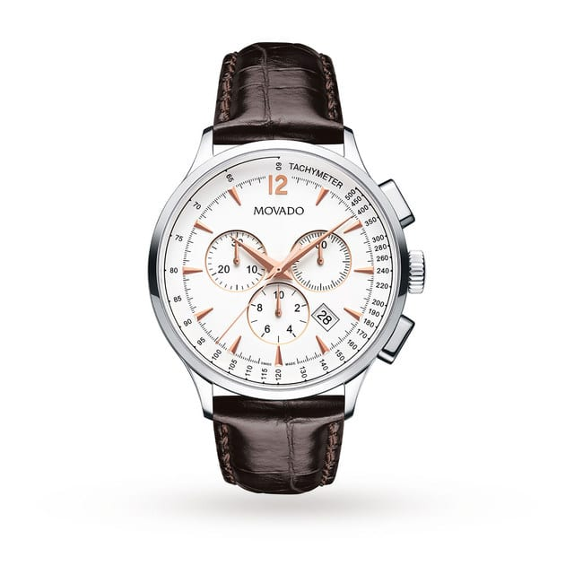 Movada Circa mens watch with crocodile leather strap