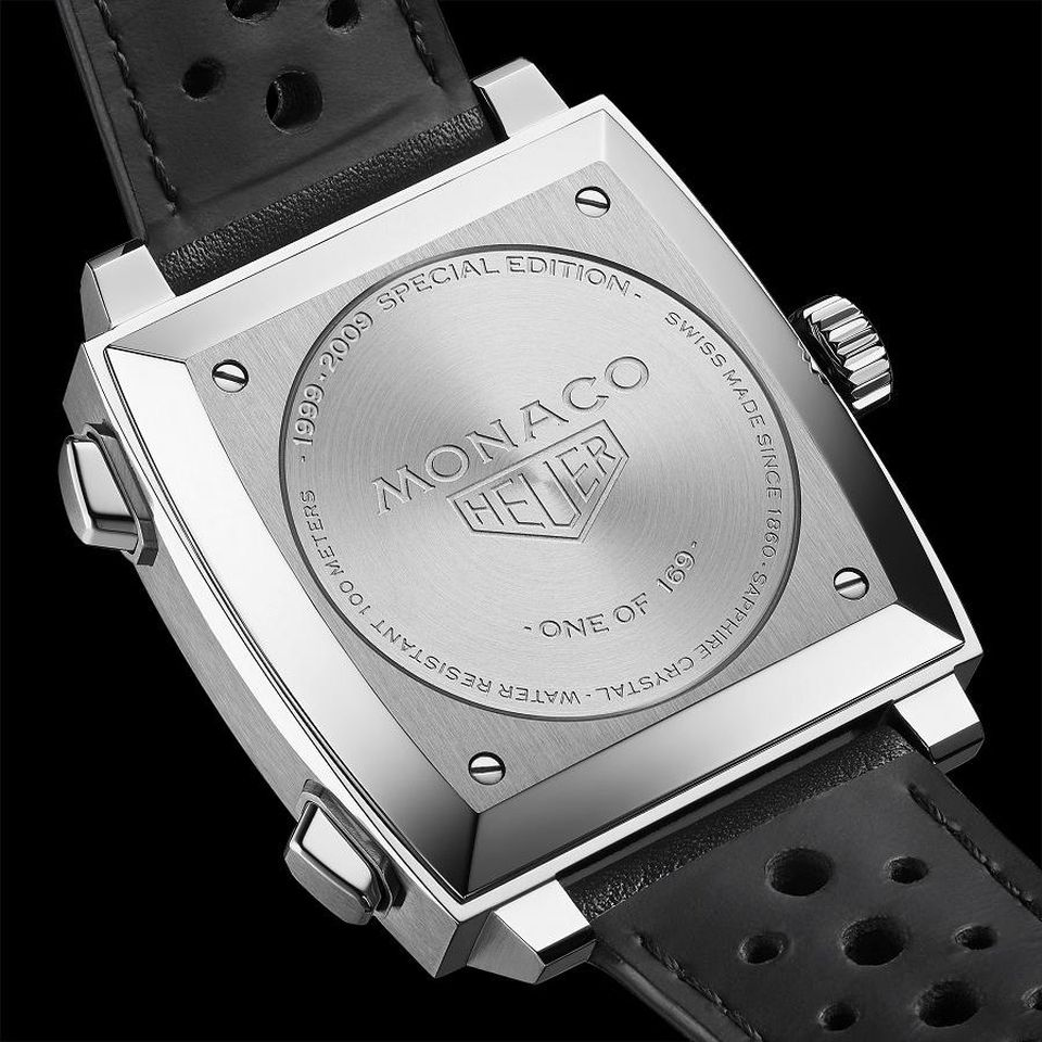 back of the new tag heuer monaco watch