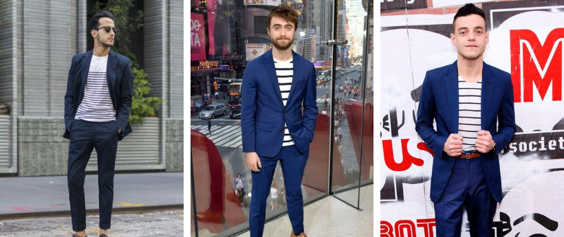 three ways to wear a blue suit with a breton top