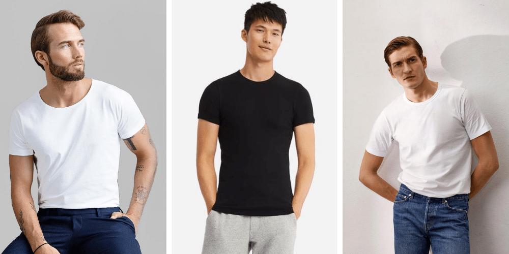 models wearing plain men's tshirts