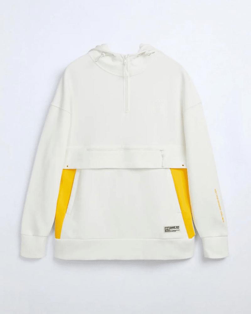 zara white and yellow hoodie
