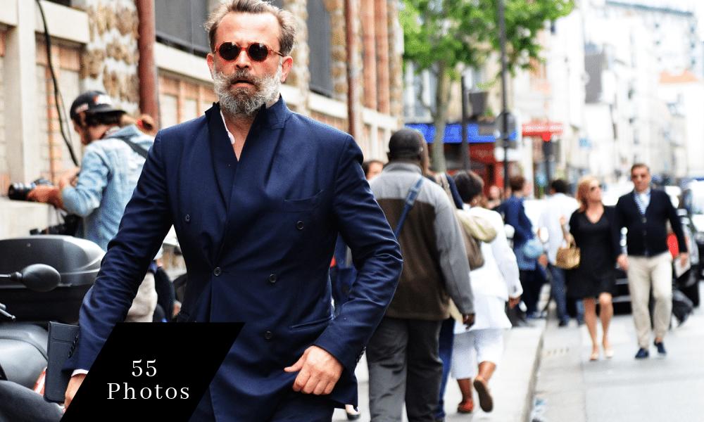 street style man wearing blue suit