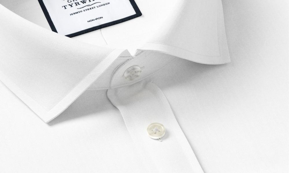 close up cutaway collar shirt