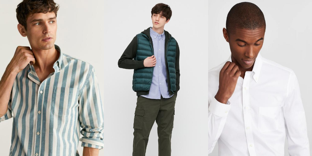examples of button down collar shirts