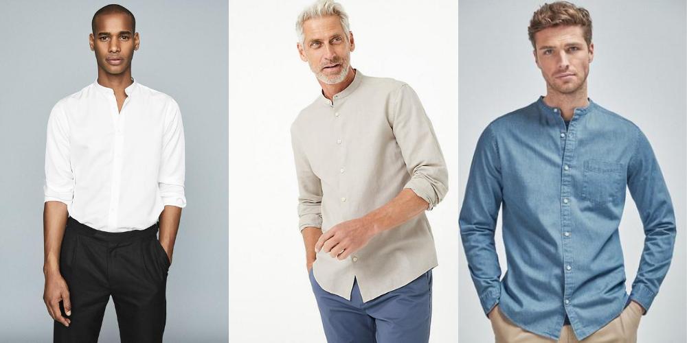 models wearing a band collar shirt