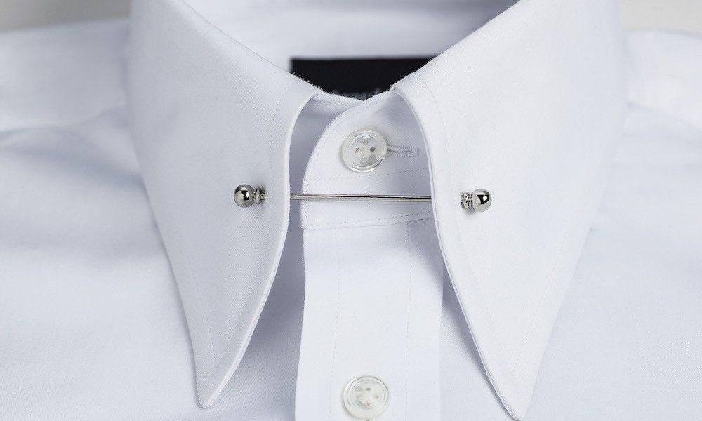 close up of pin collar shirt