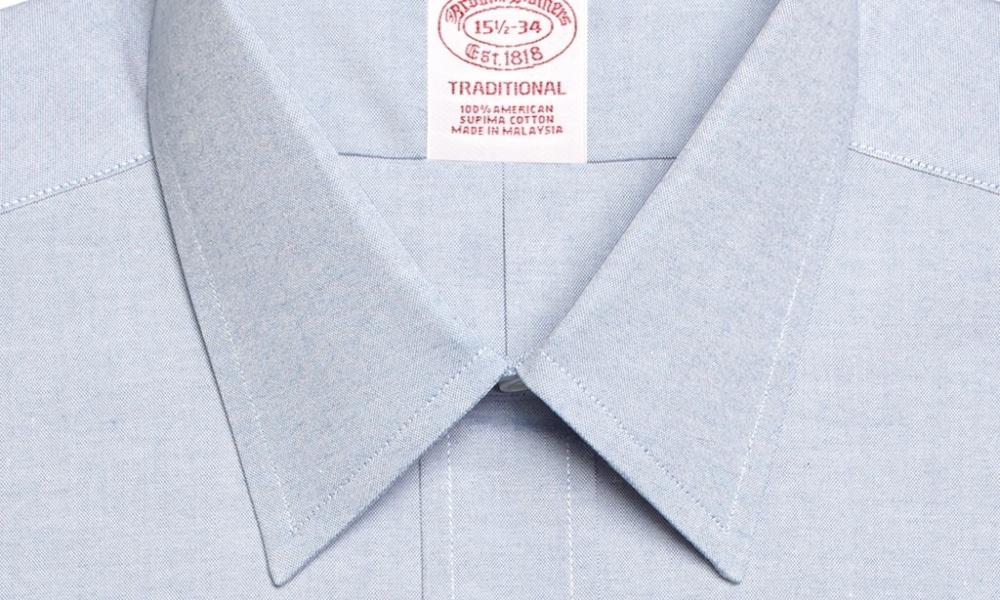 close up of point collar shirt