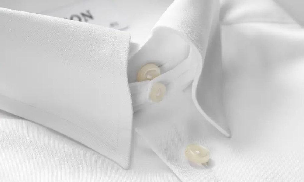 close up of tab collar shirt