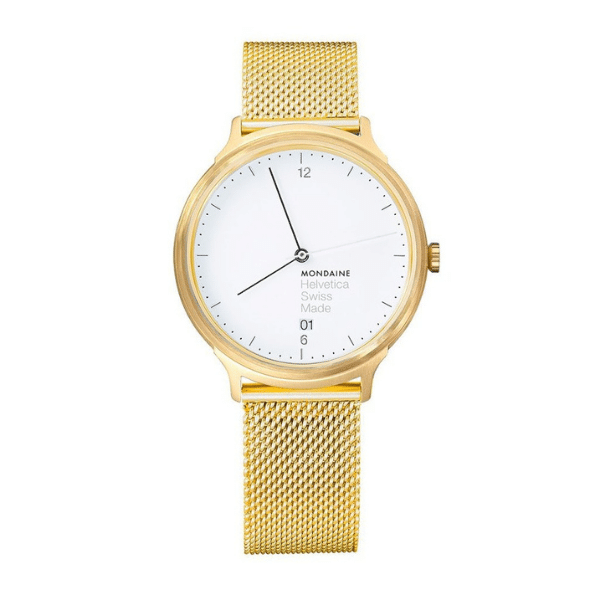 mondaine helvetica light gold watch