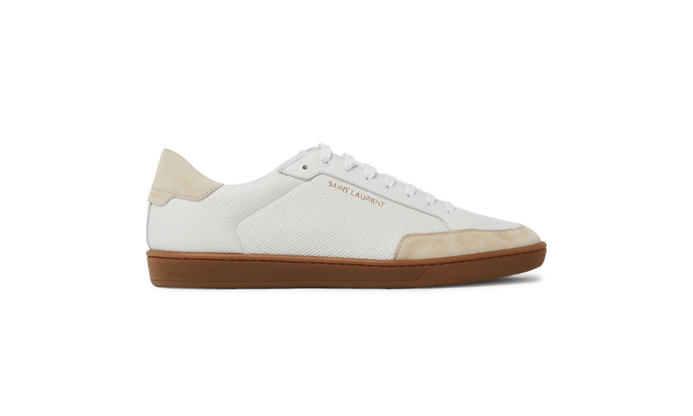 saint laurent leather and suede trainer
