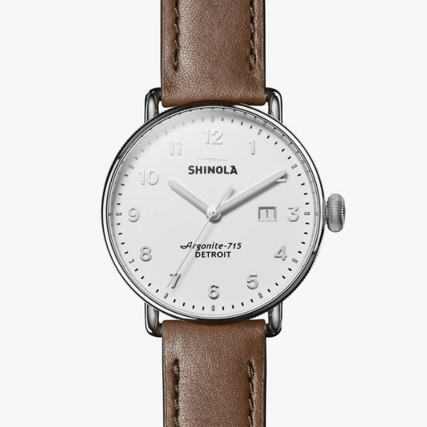 shinola canfield brown leather strap