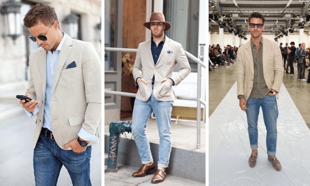 light blue jeans worn with a beige blazer