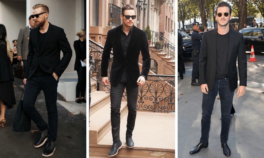 black jeans worn with a black blazer