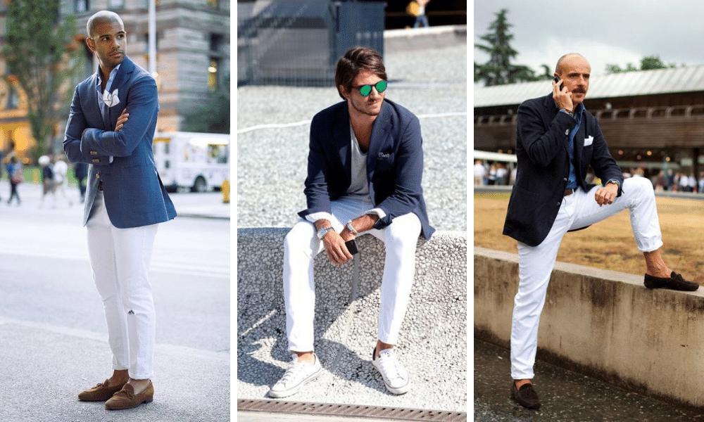 men wearing white jeans and blue blazer