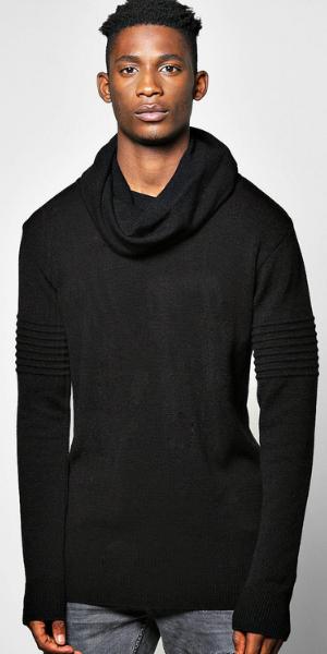model in cowl neck jumper