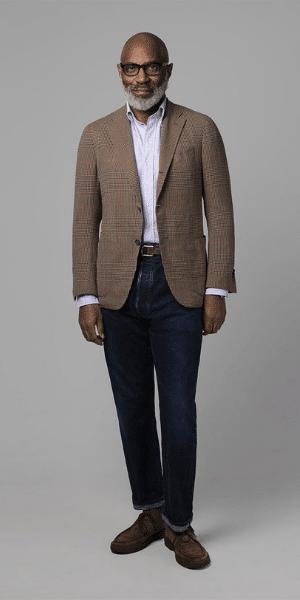model wearing brown drakes blazer