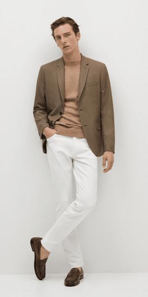 model wearing brown cotton blazer