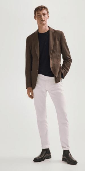 model wearing brown dyed wool blazer