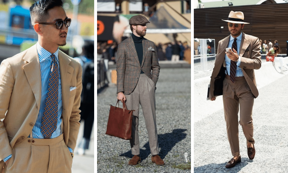 street style men not wearing belt with a suit