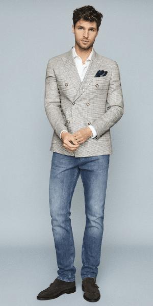 model wearing grey reiss blazer