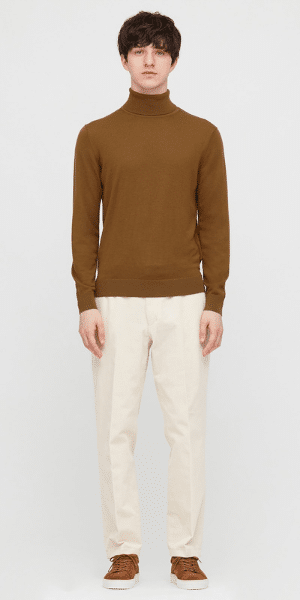 brown roll neck for men