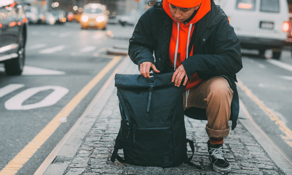 commuter with backpack