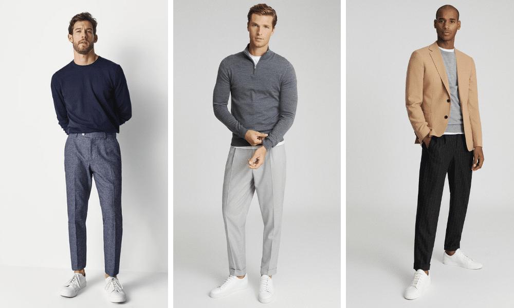 men wearing smart trousers