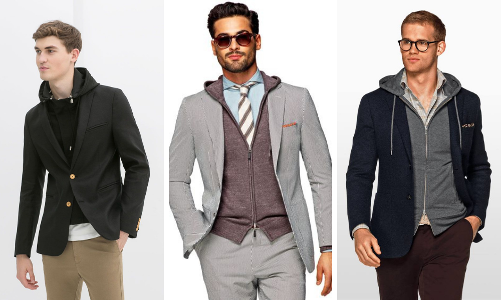 examples of a hoodie worn under a blazer