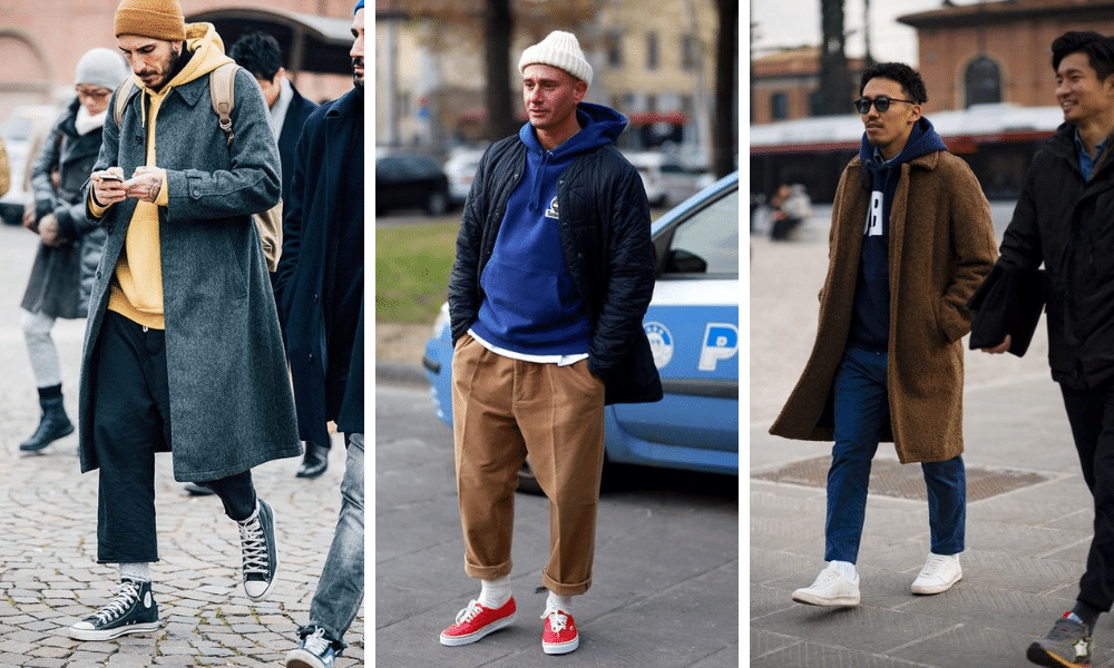 wear a hoodie with a large overcoat in winter