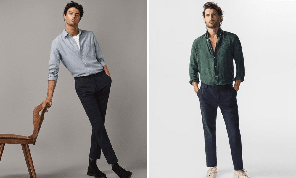 examples of men with shirt tucked in