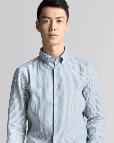 asket striped linen shirt