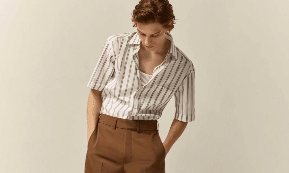 updated stripe short sleeve shirt