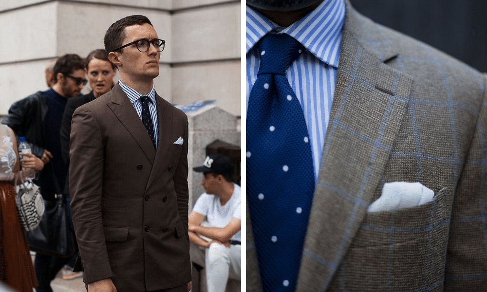 matching a striped shirt with a spotted tie