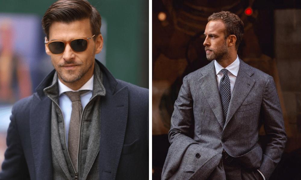 stylish men in formal clothing